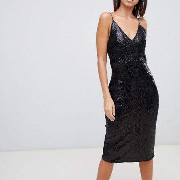 5cf8f4ad13a1 ASOS Dresses | Club L Sequin Cami Midi Dress In Black | Poshmark